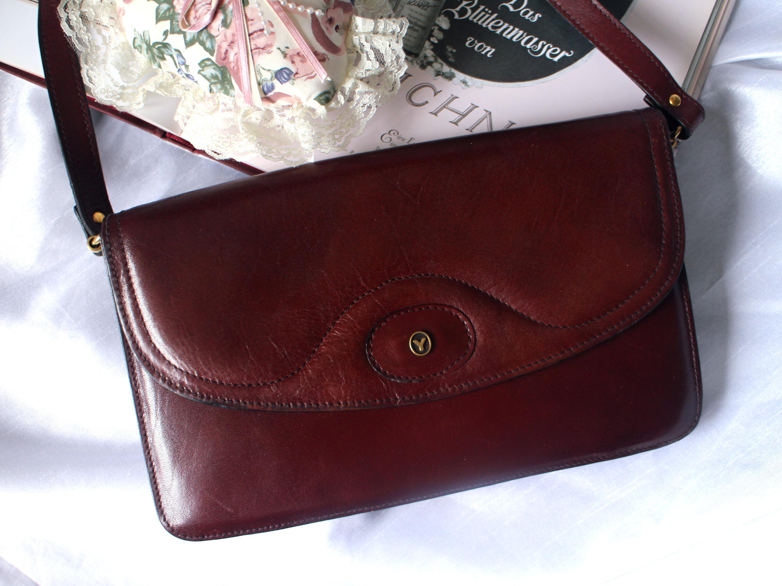 YORN Vintage Geniune Leather Messenger Bag Burgundy Flip Lid