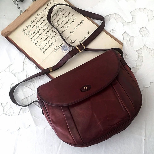 Vintage Etienne Aigner Genuine Leather Burgundy  Saddle Bag