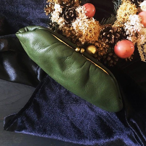 50s Vintage Olive Green Kiss Lock Leather Purse