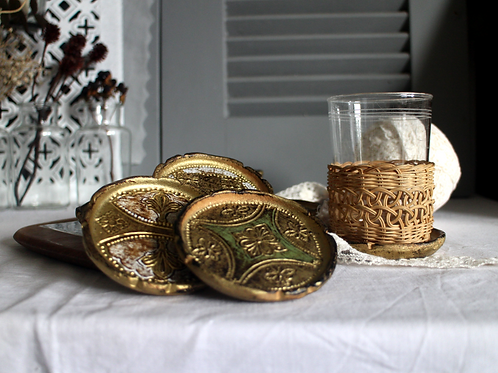 Original Mid Century Italian Florentine Coasters