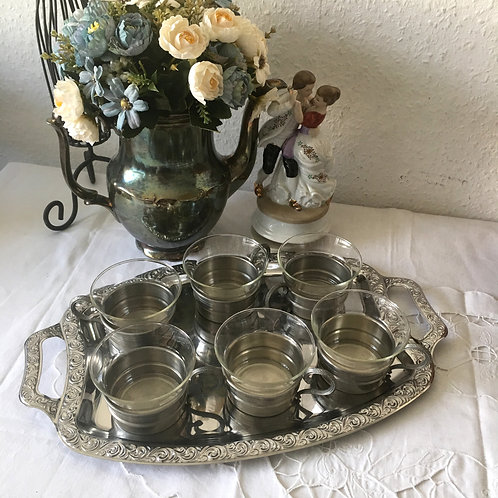 Vintage German Kassack Pewter Tin Cups/Glasses
