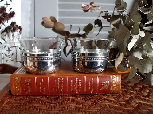 Vintage German Tea/Coffee Glasses with Holders