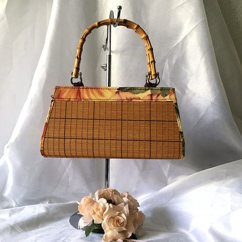 Vintage Stylish Light Brown Floral Bamboo Slatted Handbag