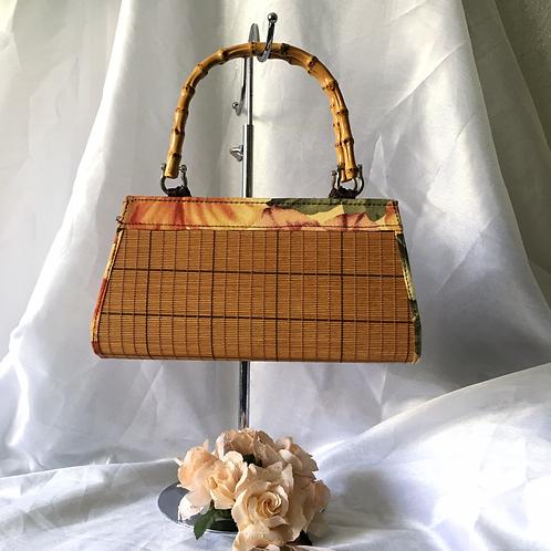 Vintage Stylish Light Brown Floral Bamboo Slatted Handbag