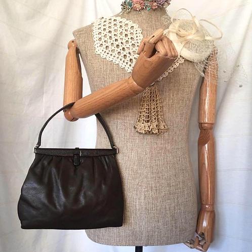 50s VintageDark Brown Leather Handbag