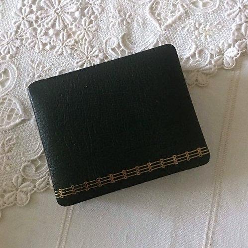 Vintage Dark Green Leather Memo Box/ Note Holder