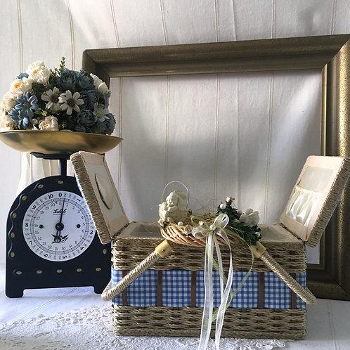 Vintage Blue & White Plaid Sewing Basket