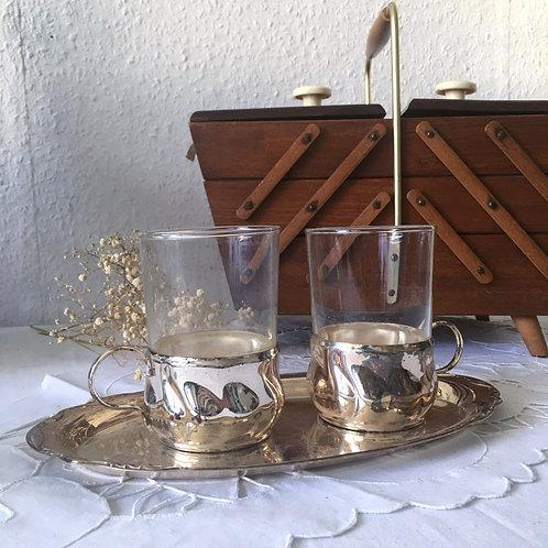 Set of 2 Vintage Podstakannik USSR