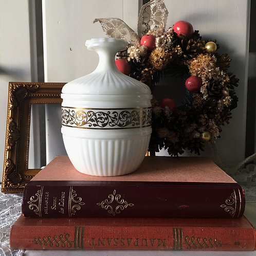 Avon Milk Glass Container with Gold Trim