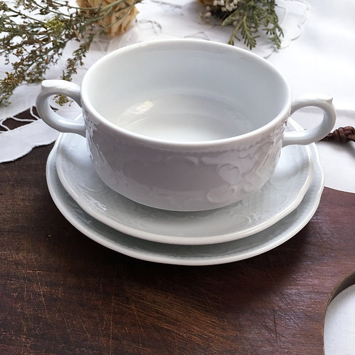 Seltmann Weiden Salzburg Mid Century White Soup Cup And Saucers