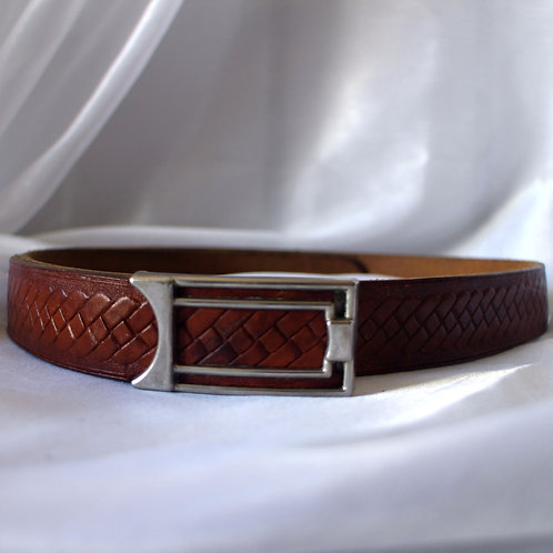 Vintage 80s Genuine Leather Embossed Belt