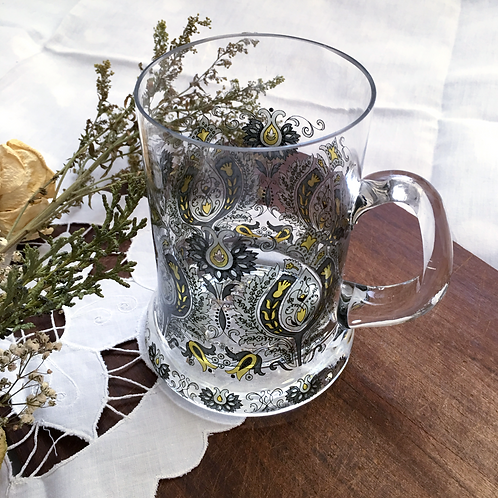 Painted German Vintage Glass Beer Stein
