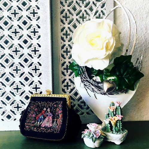 Rare Find! Vintage Gobelin Evening Purse with Romantic Scene