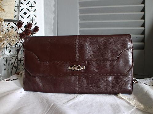 Vintage  Leather Clutch Dark Brown