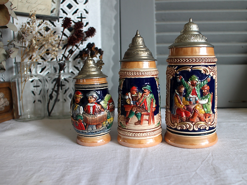 Collectible Vintage German Hand Painted Beer Steins with Lids