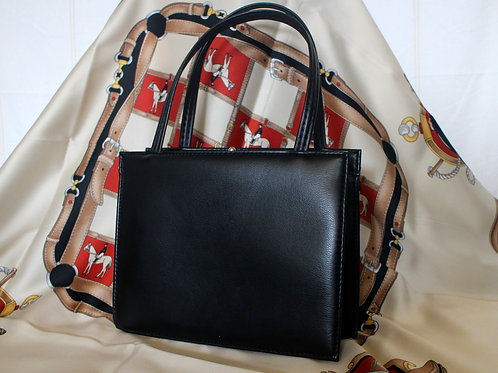 60s Vintage Small Leather Top Handle Bag Black