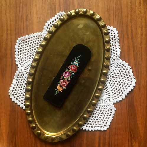 Vintage Tapestry Comb Case with Floral Fabric Cover