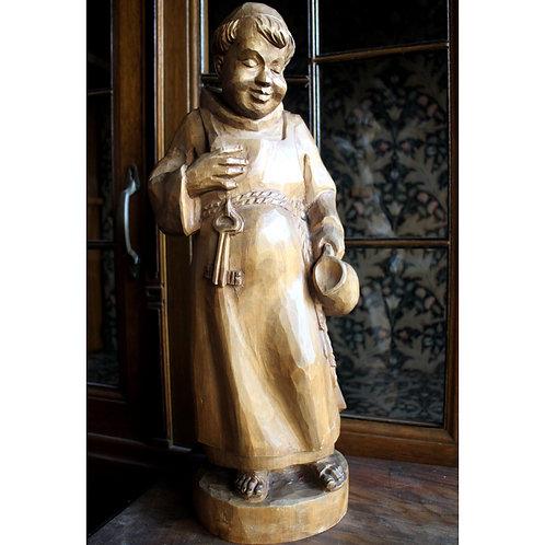 Val Gardena Hand Carved Monk - Italian Sankt Ulrich Sculpture