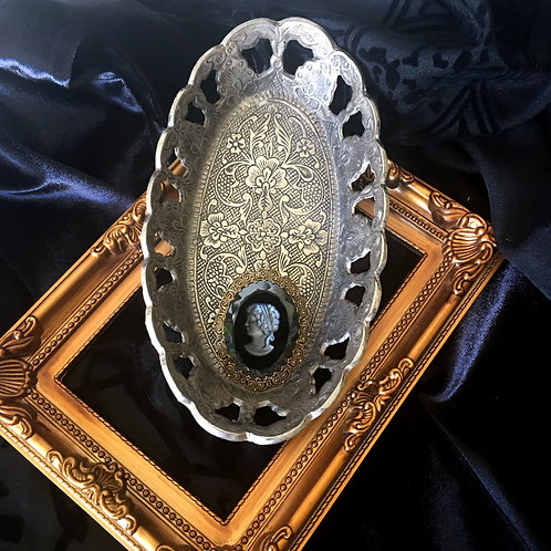 Vintage Silver Plated Ornate Oval Dish
