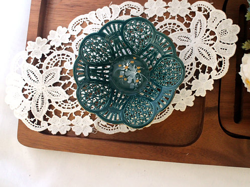 Vintage Small Floral Trinket Bowl / Jewelry Storage Tray