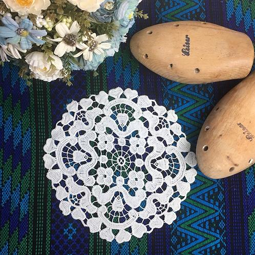 Vintage Handmade Round Linen Doily