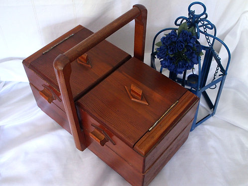 Rare D.R.G.M German Antique Sewing Wooden Box