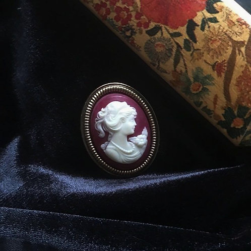 Victorian Cameo In Faux Golden Frame Brooch