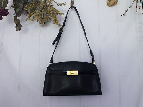 Vintage  Conti Osvaldo Black Leather Shoulder Bag