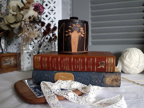 Vintage Handmade Round Wooden Storage Box