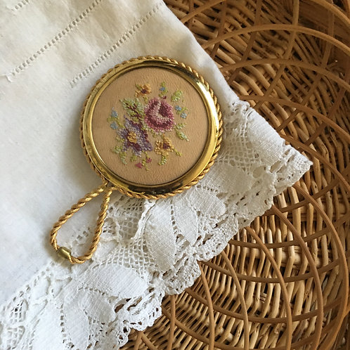 Small Vintage Hand Mirror with Tapestry accent