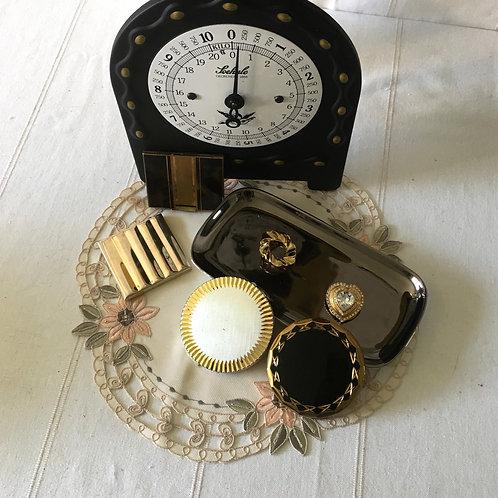 Vintage Gold Tone Black Top Compact Mirror