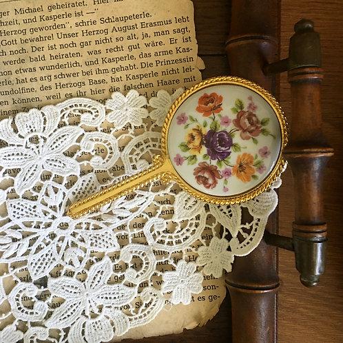 Vintage Floral Porcelain Gilded Hand Mirror