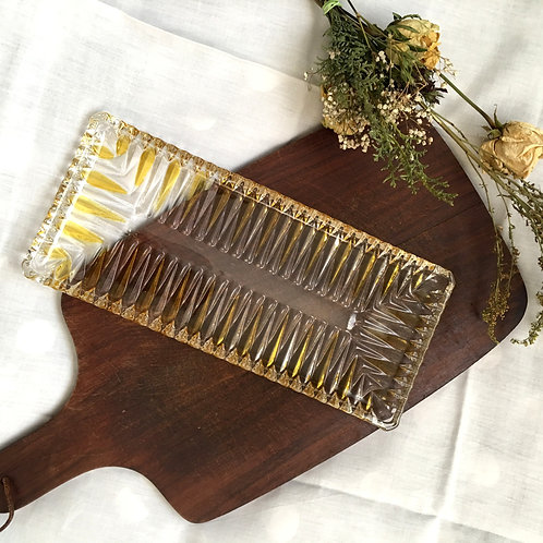 Vintage Art Deco Amber Clear Glass Serving Plate