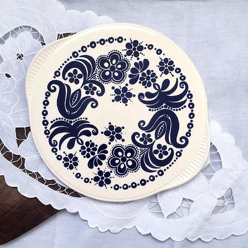 Vintage West Germany Staffel Stoneware Blue & White Serving Platter