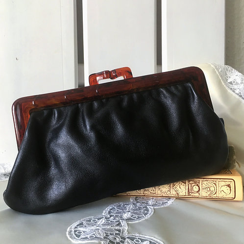 Vintage 70s Kiss Lock Leather Clutch /Cosmetic Bag