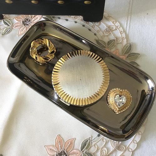 50年代銀金壓花圓粉餅鏡