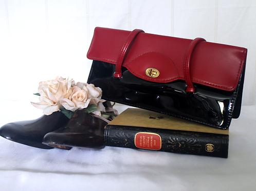 Vintage Black & Red Patent Leather Framed Handbag
