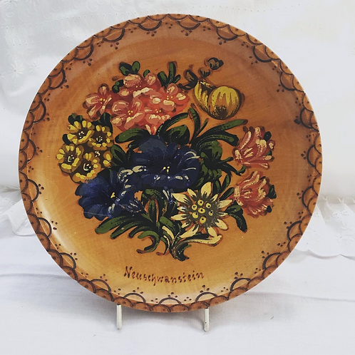Vintage Wooden Wall Plate with Hand Painted Flowers, Neuschwanstein Castle