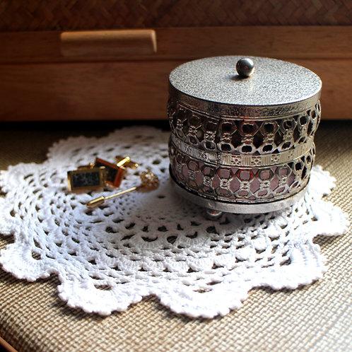 Silver Filigree Footed Jewelry Trinket Box