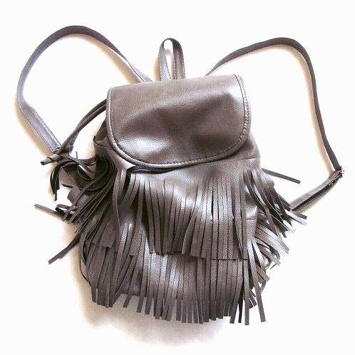 Grey Fringe Leather Backpack