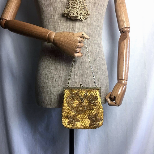 Vintage German Beaded Embroidered Two Way Bag