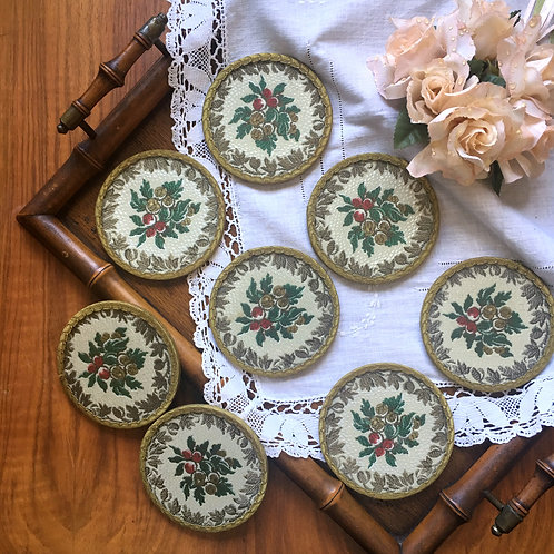 50s Retro Floral Coasters with Embroidery Inlay