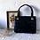 Thumbnail: Vintage Genuine Leather Top Handle Bag Black