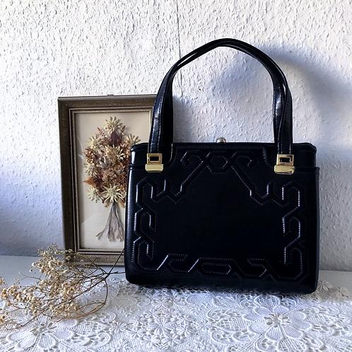 Vintage Genuine Leather Top Handle Bag Black