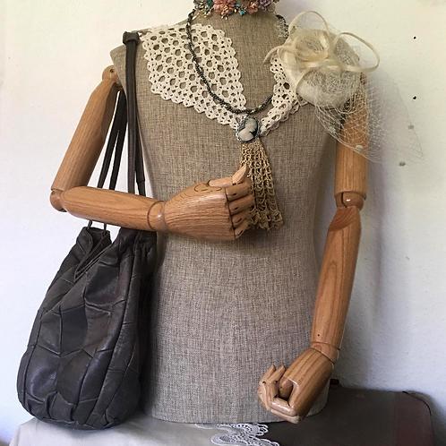 Grey Patchwork Leather Shoulder Bag