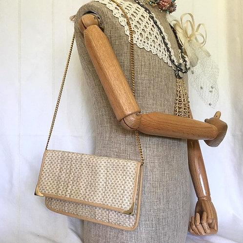 Natural Straw Woven Shoulder Bag / Clutch Bag