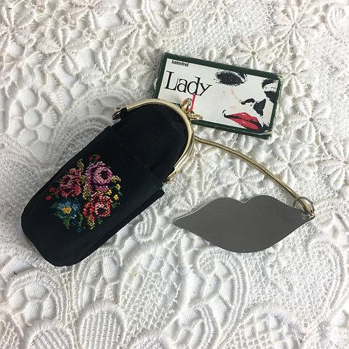 德國製絕版40-50年代玫瑰花刺繡唇膏收納袋連鏡