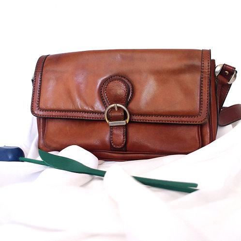 Vintage Fiocchi Lecco Brown Genuine Leather Handbag / Shoulder Bag
