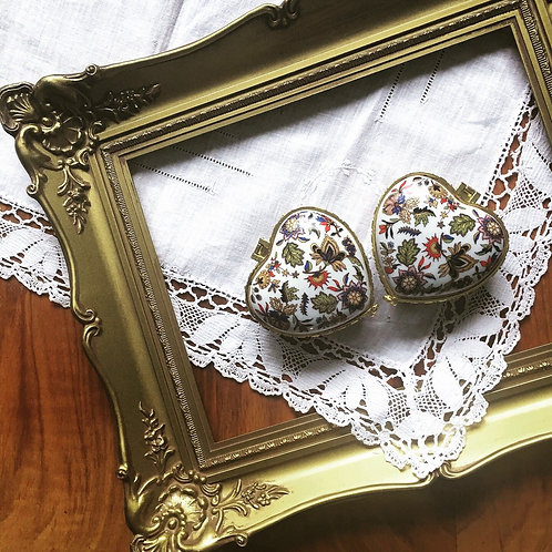 Vintage Cute Porcelain Heart Shaped Trinket Ring Box