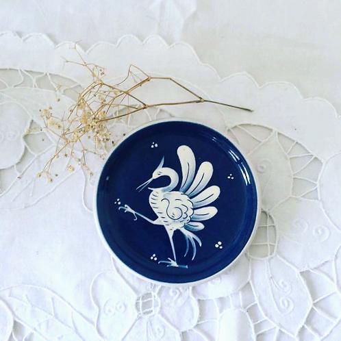 Hand Painted Heron Crane Ceramic Art Dish